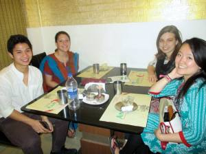 The three of us and Kim at Andhra Curry