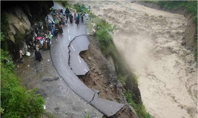 Flood damaged road River Alaknanda in Chamoli Uttarakhand