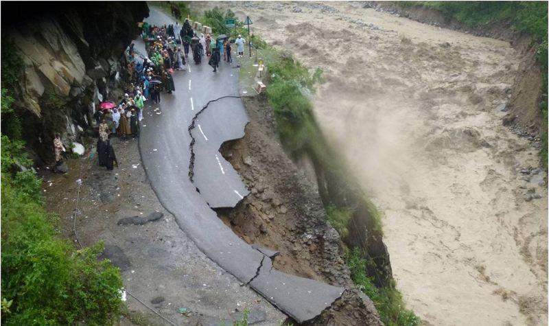 Flood damaged road River Alaknanda in Chamoli Uttarakhand