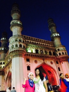 Baheirah and I at Charminar, a center for shopping and hotspot for religious tensions