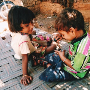 Shivam and his sister at a home we visited at Agra village!