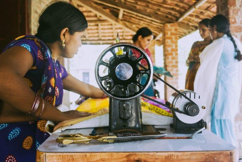 Basu working on a patchwork bedsheet at the Neemkheda bhawan.