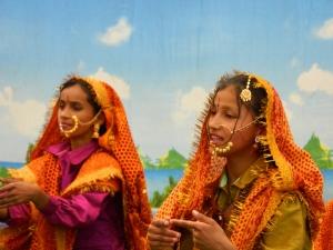 Girls doing traditional Kumaoni dances