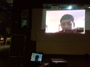 Makeshift display for screening of filmmaker Ajay Bhardwaj's 'Where the Twain Shall Meet' (Kitte Mil Ve Mahi). Bhardwaj couldn't be there to answer questions, so offered to join audience on Skype for a discussion following the film. Double jugaad points!
