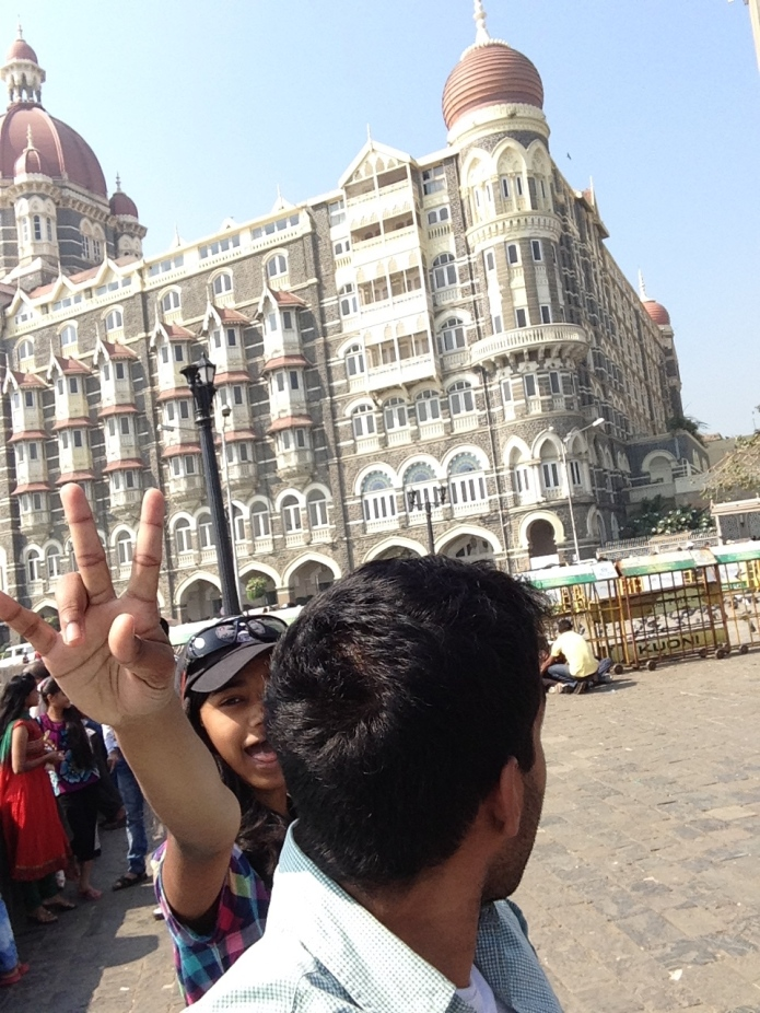 My cousin and I being goofy in front of the Taj