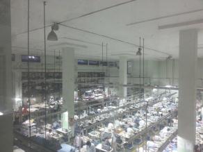 Bird's eye view of a factory floor.