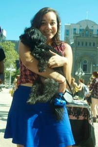 This is me (and a feminist dog) at a Philadelphia protest against rape culture last Fall. Photo by CASI '14 program alum Dani Castillo