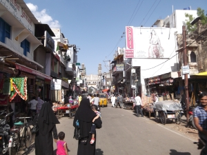 Approaching the Charminar Mosque through the Market
