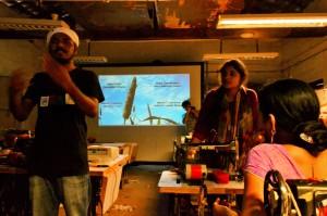 Members of the media team discussing the documentary at the Kumbaya Bhavan