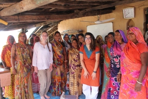Many of the women in this image are beneficiaries of SPS's poultry loan in Punjapura Village.