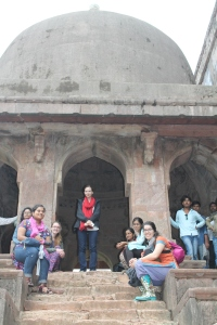 Our group minus our photographer, Andrew, at Jami Masjid. Left to Right: Nishtha, Prasann's friend, Sasha, Ashley, Prasann, Abhi, and me.