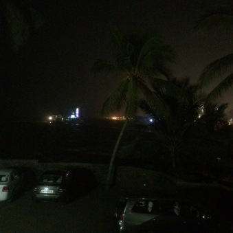 Hazy Haji Ali out the window - welcome to Mumbai!