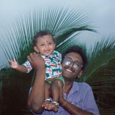 My dad with me in Rajahmundry, India
