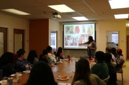 Shahi Intern Alum Kendra Carson C'16 leads a presentation on Women and Gender in India