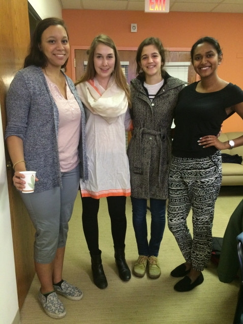 Mallory Kirby tries on her new Indian clothes with fellow Shahi alumni Kendra and Amy, and current intern Meghana.