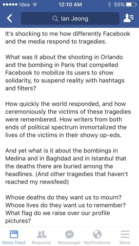 (An initial status made by a friend, Ian Jeong, on the terror attacks. Courtesy of Ian Jeong)