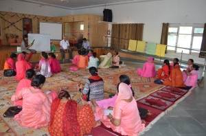 Women farmers attending a training session led by Rhea and me on Small Business Management and Basic Accounting principles