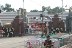 The gates at Wagah Border, from the Indian side.