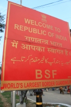 Sign for India's Border Security Force, which also runs the ceremony.