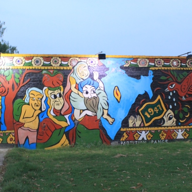 The mural chronologically shows the process of partition; this image demonstrates migration.