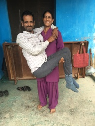 Bachitar Singh, 45 yr. old spinal injury patient, and his dedicated wife who carries him around the house and is a nursery school teacher herself