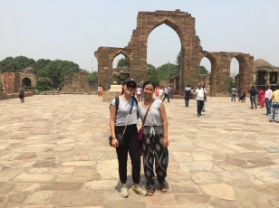 Stephanie and I at Qutub Minar on our first day in Delhi