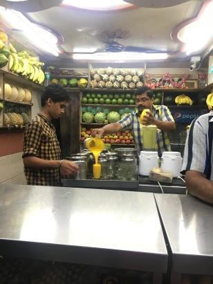 Fruit stand where we got a delicious mango milkshake, grape milkshake, and watermelon juice