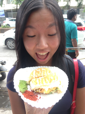Angela with the grilled cheese vada pav